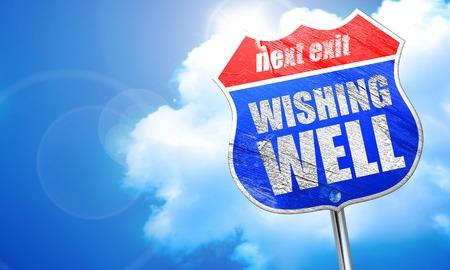 wishing: wishing well, 3D rendering, blue street sign