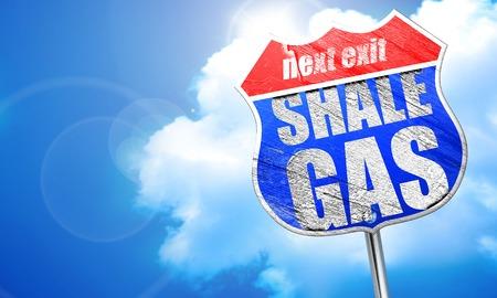 shale: shale gas, 3D rendering, blue street sign