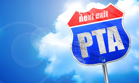 association: pta, 3D rendering, blue street sign