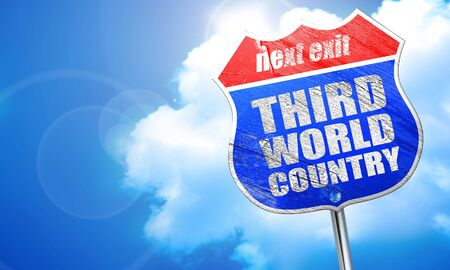 benares: third world country, 3D rendering, blue street sign