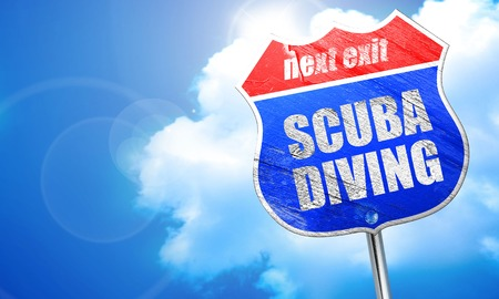 scuba diving, 3D rendering, blue street sign Stock Photo