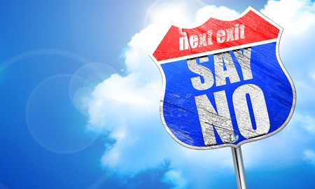 say no, 3D rendering, blue street sign