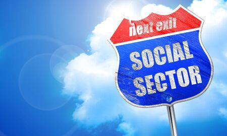 wap: social sector, 3D rendering, blue street sign