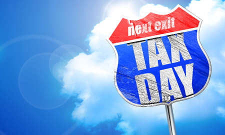 million: tax day, 3D rendering, blue street sign Stock Photo