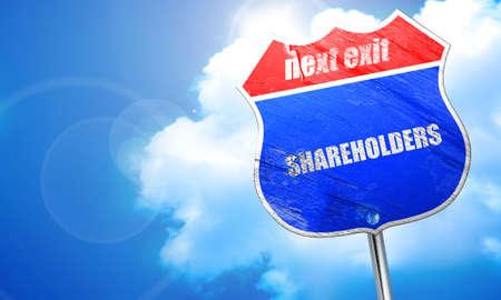 shareholders: shareholders, 3D rendering, blue street sign