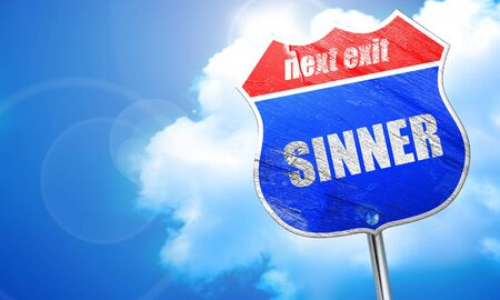 sinner: , 3D rendering, blue street sign