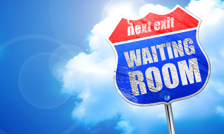 healthcare visitor: waiting room, 3D rendering, blue street sign Stock Photo