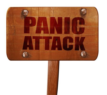 panic attack: panic attack, 3D rendering, text on wooden sign Stock Photo