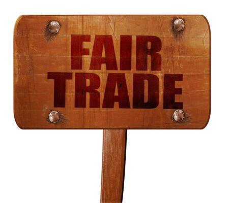 fairtrade: fair trade, 3D rendering, text on wooden sign Stock Photo