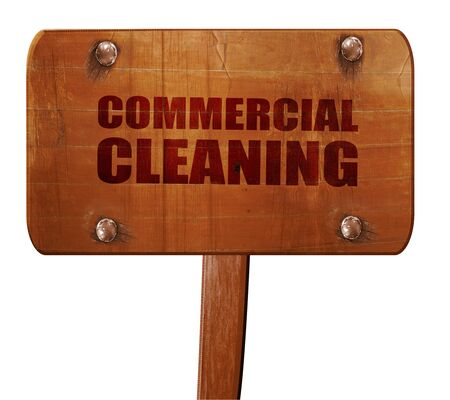 cleaning crew: commercial cleaning, 3D rendering, text on wooden sign Stock Photo