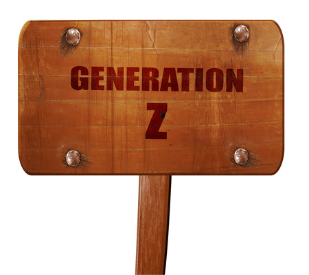 generation z, 3D rendering, text on wooden sign Stock Photo