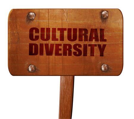 diversidad cultural: cultural diversity, 3D rendering, text on wooden sign Foto de archivo