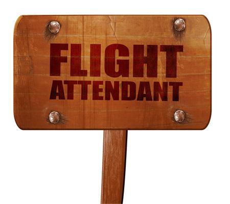 airline hostess: flight attendant, 3D rendering, text on wooden sign