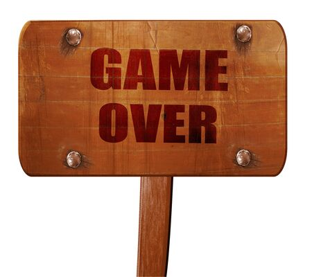 unsuccess: game over, 3D rendering, text on wooden sign