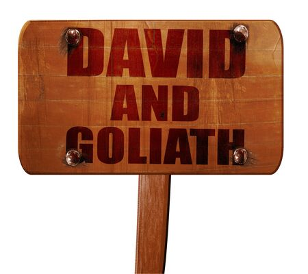 david and goliath: david and goliath, 3D rendering, text on wooden sign