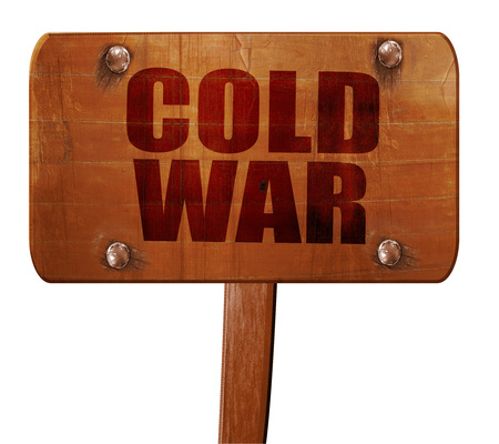 gorbachev: cold war, 3D rendering, text on wooden sign