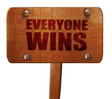 everyone: everyone wins, 3D rendering, text on wooden sign Stock Photo
