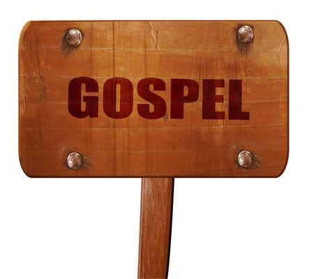 gospel: gospel, 3D rendering, text on wooden sign