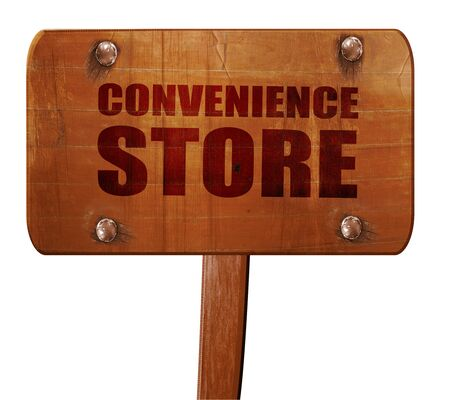 lawson: convenience store, 3D rendering, text on wooden sign