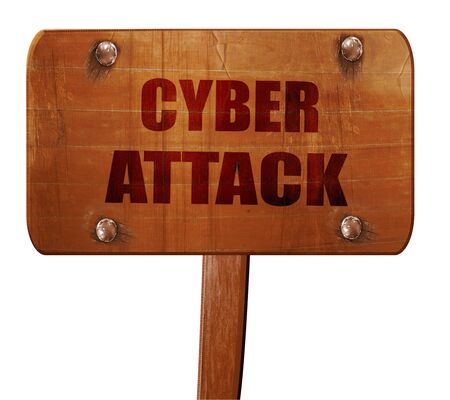 cyberwarfare: Cyber attack background, 3D rendering, text on wooden sign