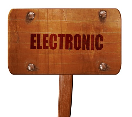 music 3d: electronic music, 3D rendering, text on direction sign