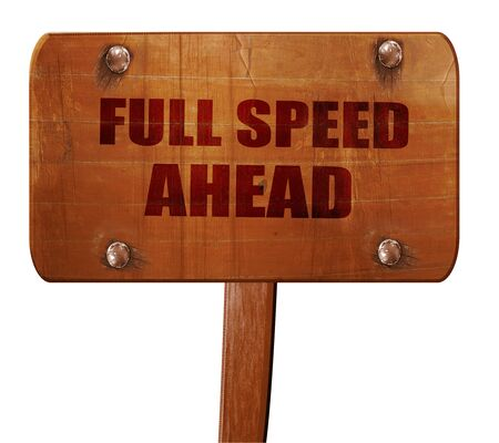 astern: full speed ahead, 3D rendering, text on wooden sign Stock Photo