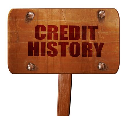fico: credit history, 3D rendering, text on wooden sign
