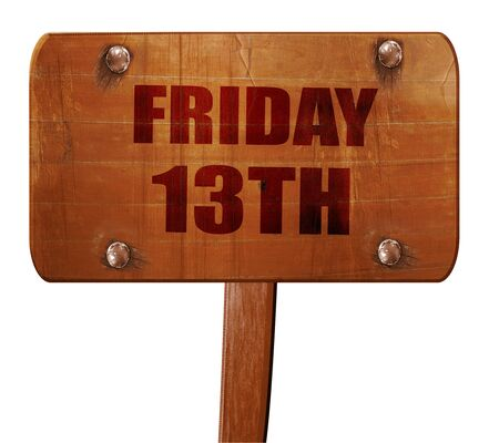 friday 13th: friday 13th, 3D rendering, text on wooden sign