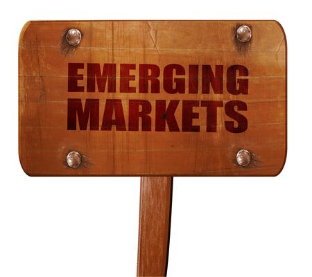 emerging economy: emerging markets, 3D rendering, text on wooden sign