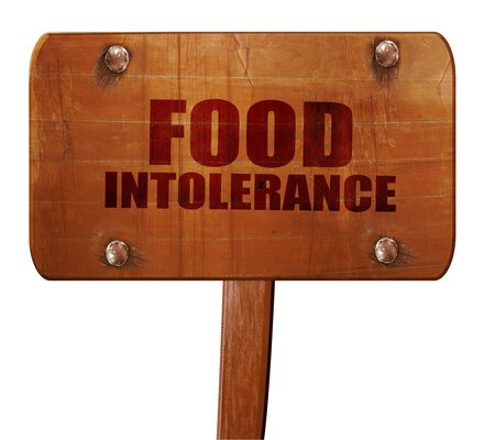 intolerancia: food intolerance, 3D rendering, text on wooden sign