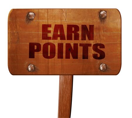 persuasive: earn points, 3D rendering, text on direction sign