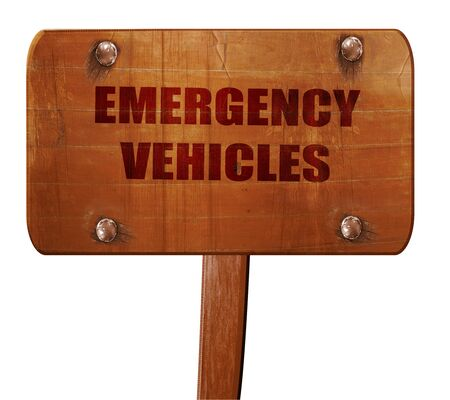 emergency lane: Emergency services sign, 3D rendering, text on wooden sign