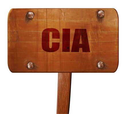 CIA: cia, 3D rendering, text on wooden sign
