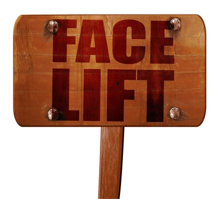 facelift: facelift, 3D rendering, text on wooden sign Stock Photo