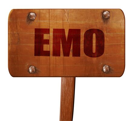 emo: emo, 3D rendering, text on wooden sign