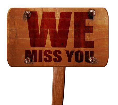 we miss you, 3D rendering, text on wooden sign Reklamní fotografie
