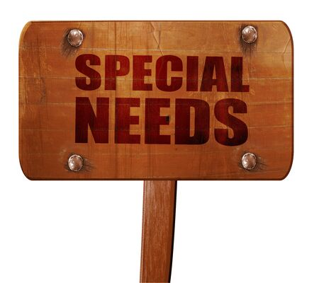 special needs: special needs, 3D rendering, text on wooden sign