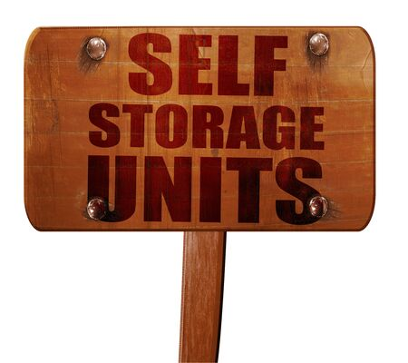 storage units: self storage units, 3D rendering, text on wooden sign