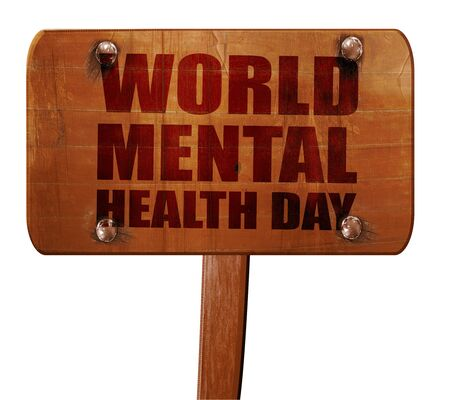 developmental disorder: world mental health day, 3D rendering, text on wooden sign