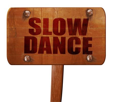 3d dance: slow dance, 3D rendering, text on wooden sign