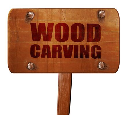 wood carving 3d: wood carving, 3D rendering, text on wooden sign