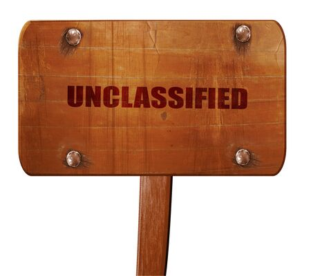 unclassified, 3D rendering, text on wooden sign Stock Photo