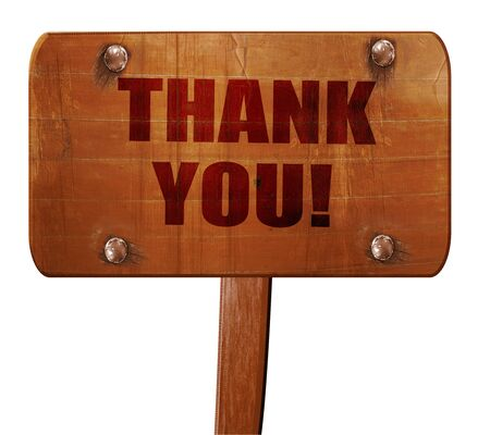 gratefulness: thank you, 3D rendering, text on wooden sign