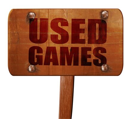 users video: used games, 3D rendering, text on wooden sign Stock Photo