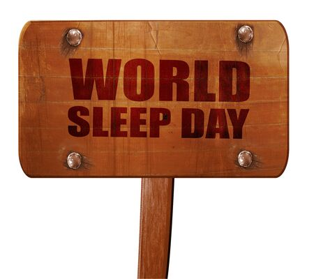 sleeplessness: world sleep day, 3D rendering, text on wooden sign