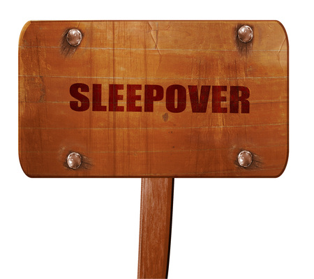 pijamada: sleepover, 3D rendering, text on wooden sign