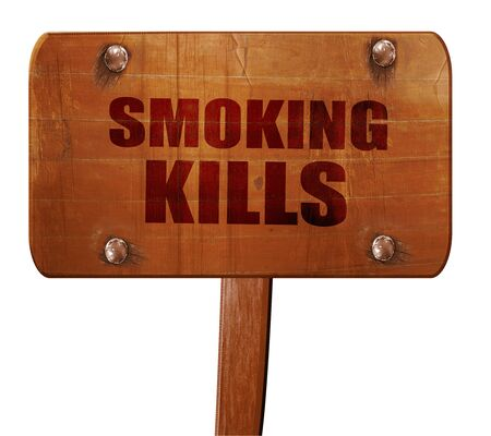 killing cancer: smoking kills, 3D rendering, text on wooden sign