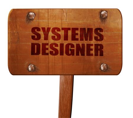 users video: systems designer, 3D rendering, text on direction sign Stock Photo