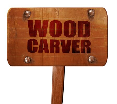 wood carving 3d: wood carver, 3D rendering, text on direction sign
