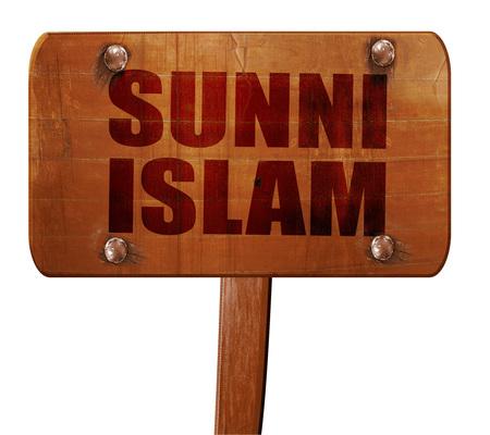 sunni: sunni islam, 3D rendering, text on direction sign